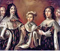 Louis XIII, Anne of Austria, and their son Louis XIV, flanked by Cardinal Richelieu and the Duchesse de Chevreuse.jpg
