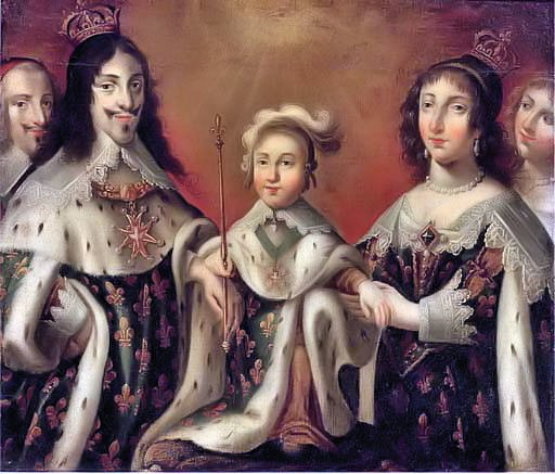 Louis XIII, Anne of Austria, and their son Louis XIV, flanked by Cardinal Richelieu and the Duchesse de Chevreuse