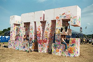Glastonbury Festival - The giant LOVE sign inspired by The Beatles