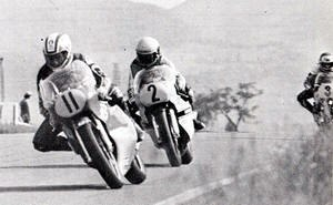 Kenny Roberts - Roberts (2) follows Marco Lucchinelli (11) during the 1978 Nations Grand Prix at Mugello. Roberts would eventually go on to win the race.