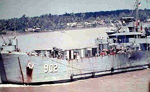 USS Luzerne County (LST-902) underway on the Mekong River, Vietnam, 1968