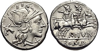 Junia (gens) - Denarius of Marcus Junius Silanus, 145 BC.  The obverse depicts Roma in front of a donkey's head, alluding to Silenus.  The Dioscuri appear on the reverse.