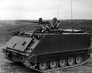 M113 firing .50-caliber machine gun during Sou...