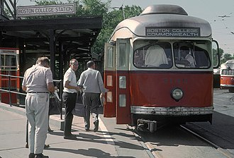Boston College (MBTA station) - A train at the 1930-constructed platforms in 1965