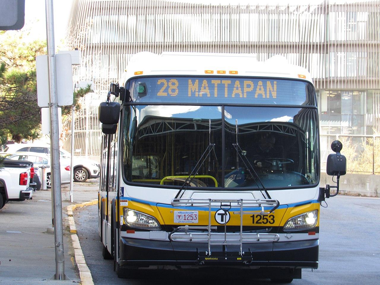 MBTA route 28 bus at Ruggles station, November 2016.jpg