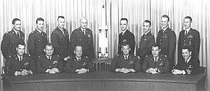 Manned Orbiting Laboratory - 14 of the 17 MOL astronauts: Top row L-R: Herres, Hartsfield, Overmyer, Fullerton, Crippen, Peterson, Bobko, Abrahamson. Bottom Row L-R: Finley, Lawyer, Taylor, Crews, Neubeck, Truly.