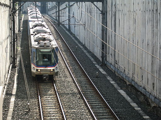 MRT-3 Manila train towards Ayala Station