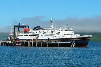 MV Tustumena - M/V Tustumena, docked at the False Pass city port.