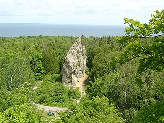 Sugar Loaf (Mackinac Island) - Sugar Loaf, as seen from Point Lookout