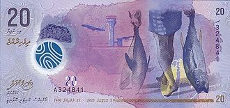 Maldivian rufiyaa - Image: Maldives 20 Rufiyaa Polymer Banknote 2015