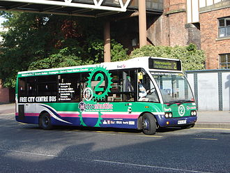 Metroshuttle - First Manchester Optare Solo on Manchester route 2 in October 2007