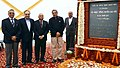Manohar Parrikar laid the Foundation Stone for the building of National Institute of Defence Estates Management under the GDE, in New Delhi. The Defence Secretary, Shri R.K. Mathur and other dignitaries are also seen.jpg