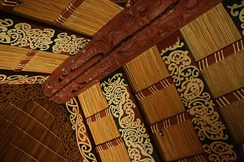 Ceiling of a Maori meeting house, with a carve...