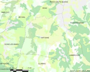 Tartonne - Tartonne and neighboring municipalities