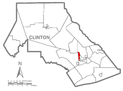 Map of Clinton County, Pennsylvania highlighting Allison Township