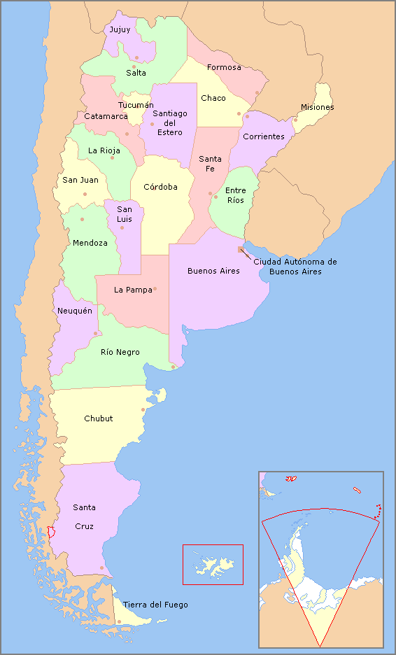 Map of Argentina with provinces names es