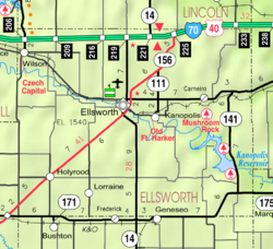 KDOT map of Ellsworth County (legend)