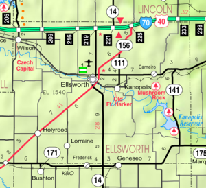 Wilson, Kansas - Image: Map of Ellsworth Co, Ks, USA