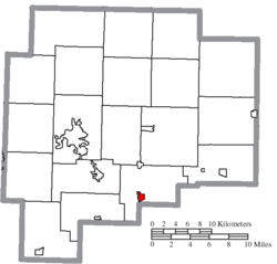 Location of Senecaville in Guernsey County