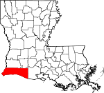 State map highlighting Cameron Parish