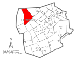 Map of Luzerne County highlighting Ross Township