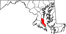 Map of Maryland highlighting Calvert County.svg