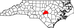 Map of North Carolina highlighting Harnett County.svg