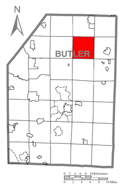 Map of Butler County, Pennsylvania highlighting Washington Township