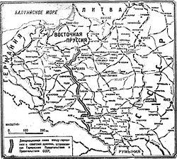 Карта, показывающая примерную линию фронта между германскими и польскими войсками к 17 сентября 1939 года.