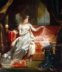 Joseph Franque: The Empress Marie-Louise watching over the sleep of the King of Rome