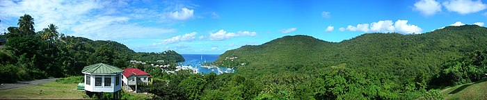 A panorama of Marigot Bay