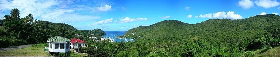 A panorama of Marigot Bay