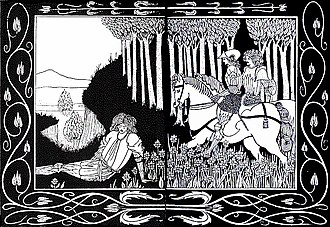 """Palamedes (Arthurian legend) - """"How King Marke and Sir Dinadan heard Sir Palomides making great sarrow and mourning for La Beale Isoud."""" Le Morte d'Arthur illustration by Aubrey Beardsley"""