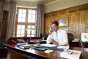 Torentje - Inside Het Torentje with Prime Minister Mark Rutte at his desk in 2012.