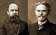 Othniel Charles Marsh (left) and Edward Drinker Cope (right), whose rivalry sparked the Bone Wars