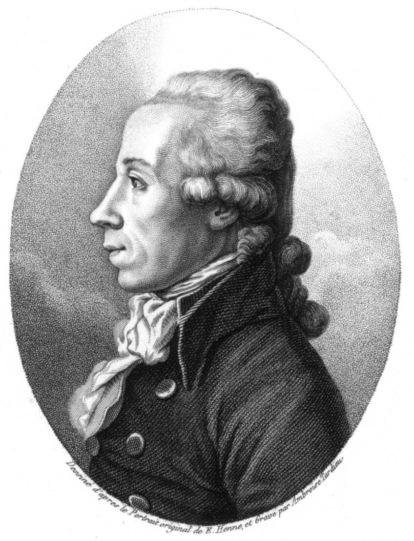 Engraved profile image of a mid-age male with high forehead. The person is wearing a coat and a neckerchief.