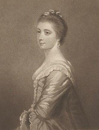 "Mary Hayley - Engraving by Samuel William Reynolds (1821) of ""Mary Wilkes (Mrs. Hayley)"" by Sir Joshua Reynolds (1763)"
