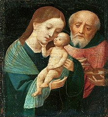 Holy Family with St. Joseph holding a bowl
