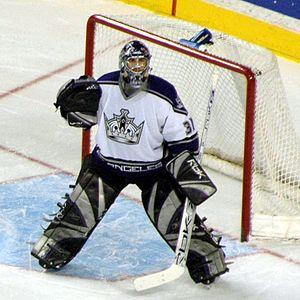 Ice hockey goaltending equipment - Mathieu Garon, playing for the Los Angeles Kings, in full goaltending gear.