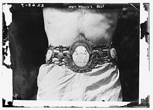 Lonsdale Belt - Matt Wells the 1911 lightweight champion wearing the Lonsdale Belt