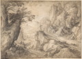 Matthijs Bril - A Mountainous River Landscape with a Hermit and a Chapel.tiff