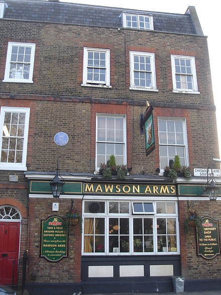 Mawson Arms, Chiswick Lane, with blue plaque to Pope Mawson Arms 01.JPG