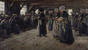Laren School - Max Liebermann (1887): Flax Barn at Laren .