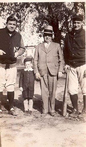 Brooklyn Bushwicks - Babe Ruth, Charlie Hyman (Rosner's Grandson), Max Rosner (Bushwicks owner), Lou Gehrig, 1929.