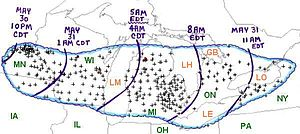 Late-May 1998 tornado outbreak and derecho - Timeline of the derecho