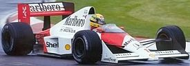 Senna at the wheel of the McLaren MP4/5.