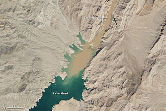 Lake Mead - Sediment-laden water from the Colorado River flowing into Lake Mead