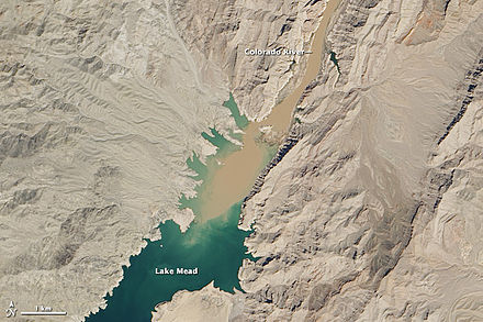 Sediment laden water from the Colorado River flowing into Lake Mead on March 29-30, 2013. Meadandcoloradoriver.jpg
