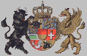 Daniel Blok - Seven-section coat of arms of Mecklenburg. possibly by Daniel Block.