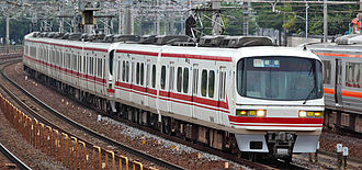 Meitetsu 1800 series - Set 1801 with a 6-car 1000/1200 series set in September 2009